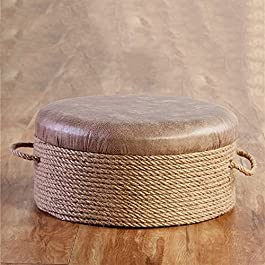 Coussin Rond de Tapis de Paille tissé, Coussin de futon Respirant pour Tabouret Bas en rotin, Oreiller de Sol en Tatami…