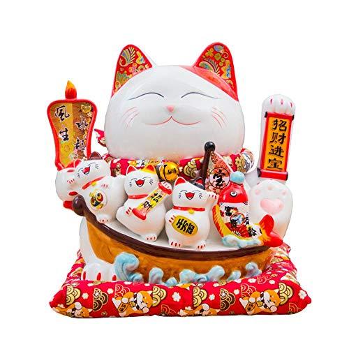 AFGH Gato Chino de la Suerte Lucky Cat agitó los Adornos de cerámica y llamó automáticamente a la Tienda de la casa del cajero Abierta