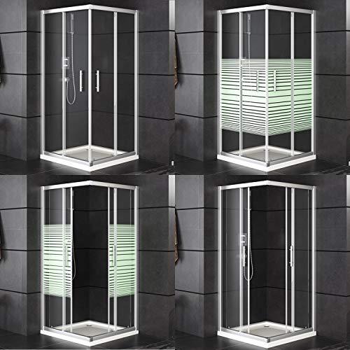 Oimex Duschkabine Duschwand Duschabtrennung Eckdusche mit Verstellbereich, Glas, Schiebetüren, ohne Tasse 80 x 80cm oder 90x90cm, Größe: 90 x 90 x 180cm, Farbe: Eckversion, mit Streifen