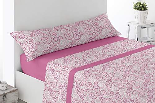 Juego de sábanas Estampadas de Microfibra Transpirable Mod. Rupe (Disponible en Varios tamaños y Colores) (Rosa, Cama de 150 cm (150_x_190/200 cm))