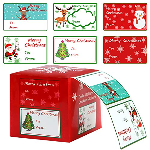 Elcoho 300 Pieces Christmas Self Adhesive Gift Tag Self Stick Stickers Gift Name Tag Christmas Stickers with 6 Different Designs (Color A)
