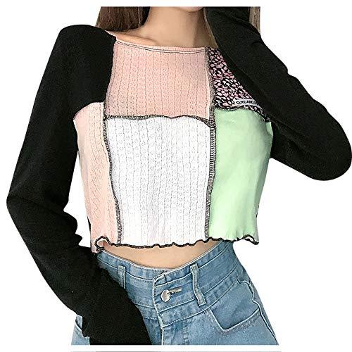 Pocciol - Camisa de manga larga para mujer, diseño de retazos y elástico, de secado rápido, ligero, para correr, entrenamiento