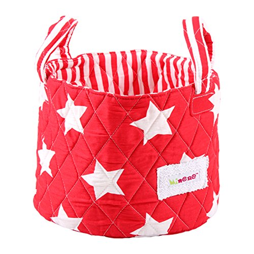 Minene Small Storage Basket with Stars (Red/White)