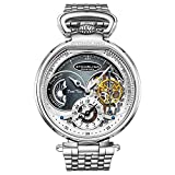 Stuhrling Orignal Mens Skeleton Watch Stainless Steel Watch Dress Watch - Mechanical Watch Automatic Movement - Stainless Steel Case and Bracelet Self Winding Analog Watches for Men (Silver)
