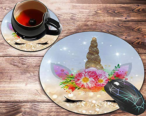 Round Mouse Pad and Coaster Set, Cute Wildebeest, Glitter Background Mousepad, Non-Slip Rubber Base Gaming Mouse Pads for Working Or Game