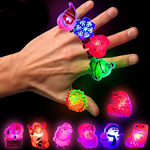 U-Goforst Christmas Party Favours - 72 pcs Christmas LED Ring Light Up Party Favor Toy Flashing Ring Christmas Stocking Stuffers Ornaments Decorations with Gift Packge