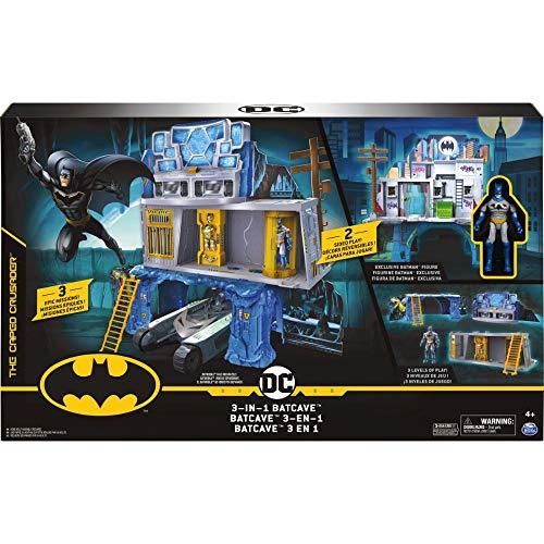 BATMAN 6058292 - 3-in-1-Batcave - Zweiseitiges Spielset mit 10cm großer Batman-Actionfigur und umfangreichem Spielmaterial