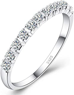 S925 Sterling Silver Ring Engagement Ring for Women Fashion Single Row Drill Ring