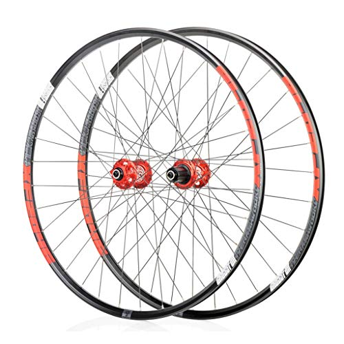 SN Outdoor Bike Bicycle Wheelset 26, Double Wall Cycling Wheels Quick Release Sealed Bearings Hub 32 Hole Disc Brake 8 9 10 Speed Training (Color : Red, Size : 27.5inch)