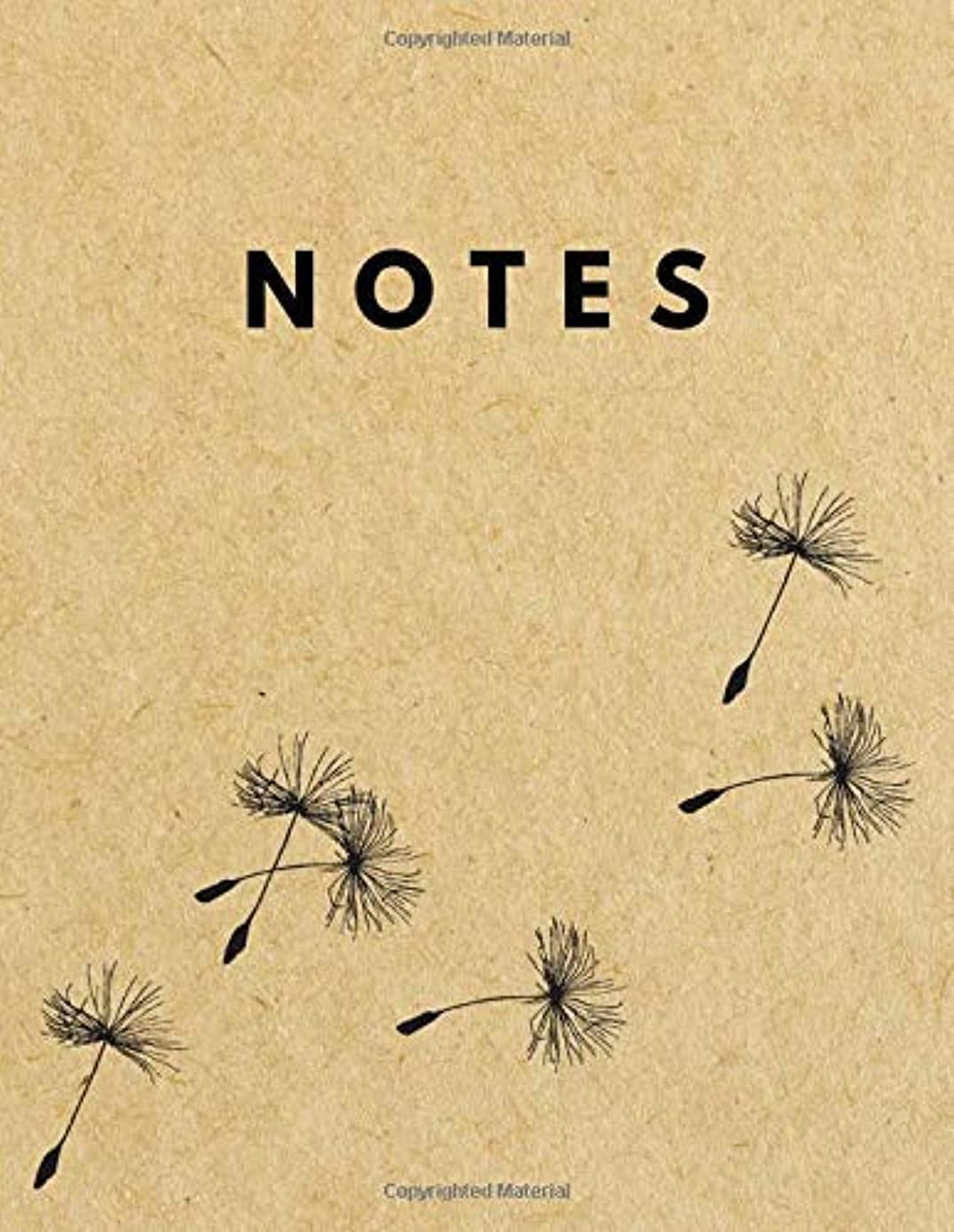Notes: Unlined Plain Retro Notebook | Large (8.5 x 11 inches) Letter Size | 120 unruled pages | Dandelion Blowball Brown Paper Soft Cover [並行輸入品]