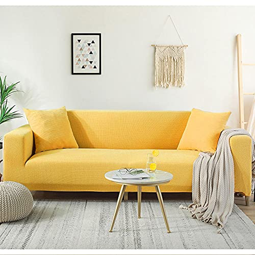 1-Stück Sofa Überwürfe,1/2/3/4 Sitzer Sofabezug Strecken Jacquard Elastische Spandex Couchbezug Weich Dick Sofahusse Für L-Form Schnittcouch-Yellow_5-Seater(305-360cm/120-141inch