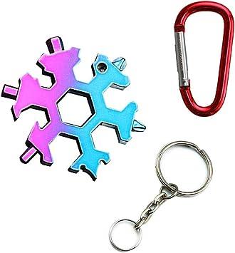 CESFONJER Multiherramienta Copo de Nieve | Tarjeta de Herramientas Snowflakes, Combinación de Tarjetas Multiusos 18 en 1 Productos para Exteriores ...