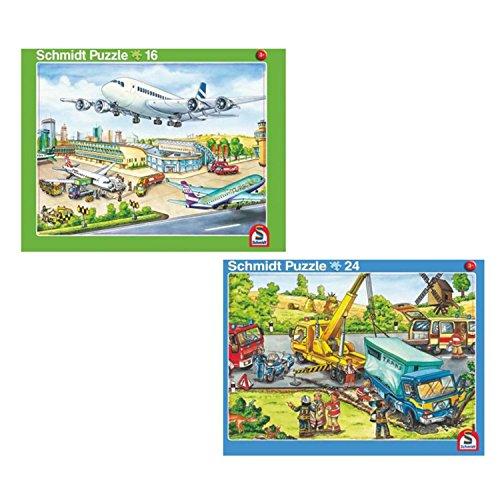 Schmidt Spiele 56769 Flughafen und Feuerwehr - 2er Set Rahmenpuzzle