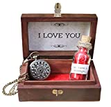 Oye Happy Wooden Box with I Love You Message, Bottle and Vintage Pocket