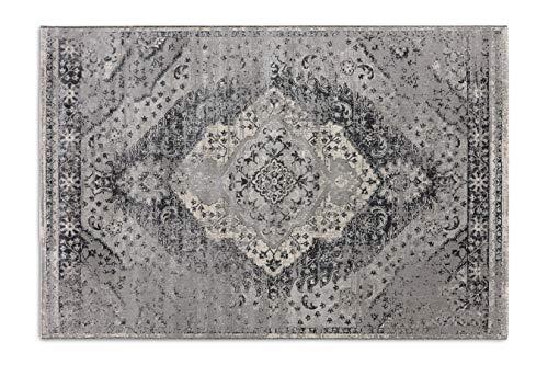 LIFA LIVING 160 x 230 cm Vintage Teppich für Wohnzimmer und Schlafzimmer, Wohnzimmerteppich mit Muster Orientalisch, Grau, aus weicher Wolle
