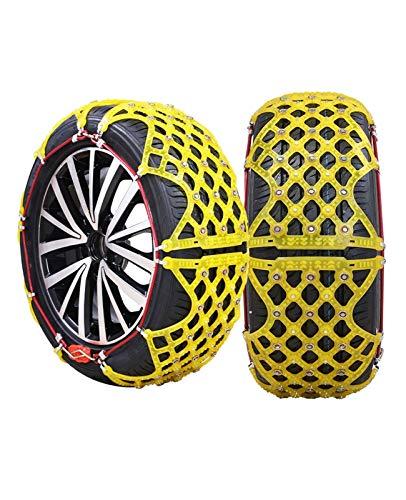 klj Cadena de Nieve Cadena Pan SUV Snow Neumático Cadena de neumáticos Invierno Espesamiento Tendón Seguridad de Emergencia Cadena Antideslizante Fácil de Instalar, Amarillo (Size : 185R14C)