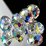 Dowarm 200 Pieces Briolette Crystal Glass Beads for Jewelry Making, 8MM Rondelle Crystal Beads for Crafts Wine Charms Wind Chimes Suncatchers, Briollete Rondelle Finding Spacer Beads (Crystal AB, 8MM)