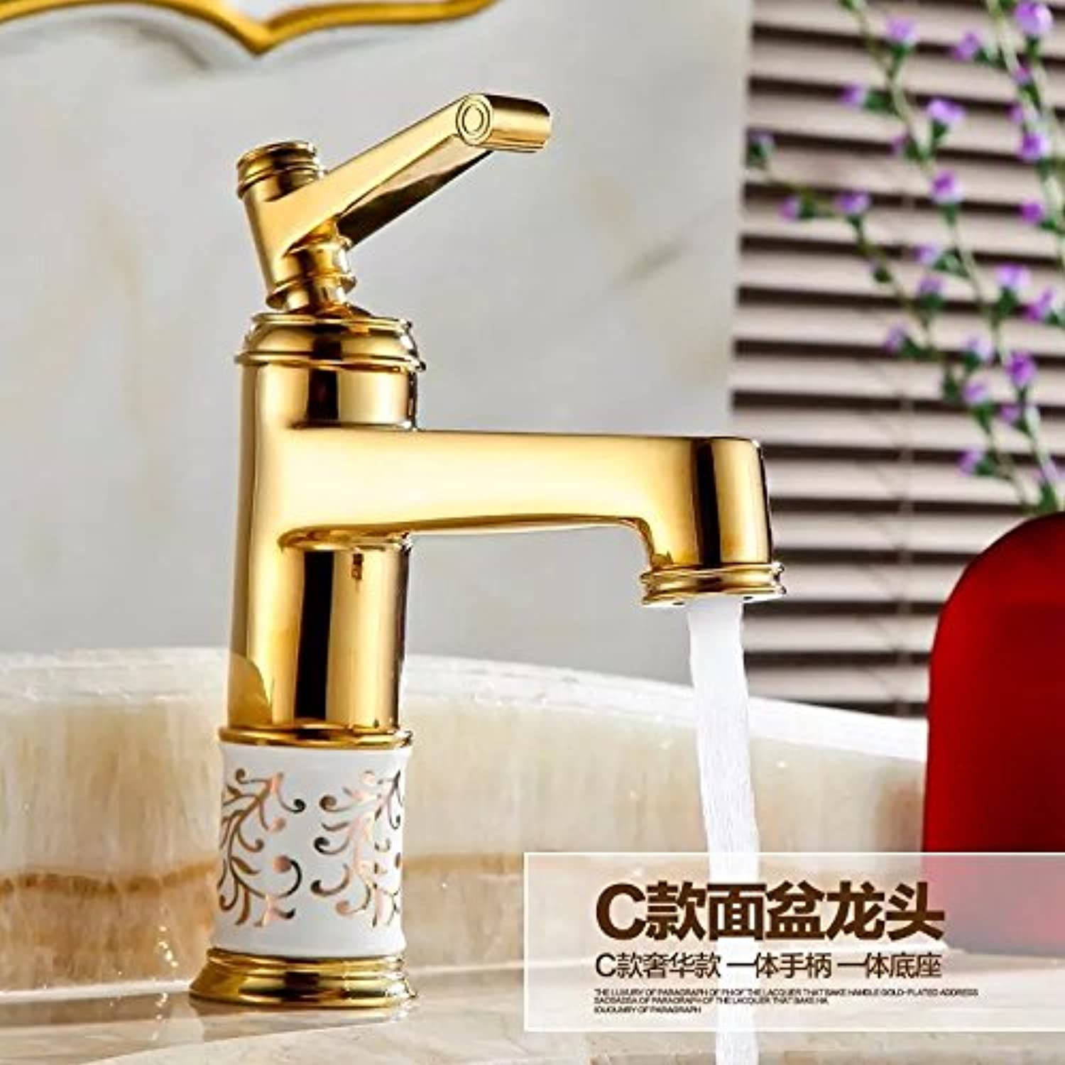 U-Enjoy golden Faucet Diamond Top Quality Faucet The Crystal Sphere Home Bathroom Kitchen Tap Bathroom Wash Water Tap (Free Shipping)