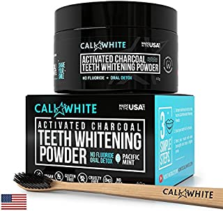 Cali White Vegan Activated Charcoal Teeth Whitening Powder, Best Natural Tooth Whitener, Black Carbon Coco from Organic Coconut, Faster Than Toothpaste & Strips + Bamboo Binchotan Charcole Toothbrush