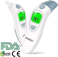 SVMUU Termómetro Digital Frente y Oído, Termómetro Médico Infrarrojo para Bebés, Multifunción 4 en 1, Alarma de Fiebre, Lectura instantánea para niños, Adultos y Objetos, Certifica CE/ROHS/FDA