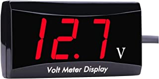 12 Volt Digital Voltage Meter Voltmeter Battery Indicator Gauge LED Display for Motorcycle EZGO Club Car Yamaha Golf Cart (Red)