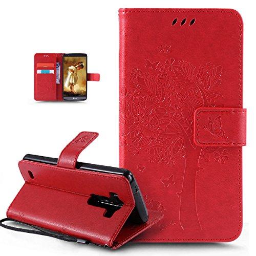 Coque LG G3,Etui LG G3,ikasus Gaufrage Embosser Chat papillon Fleur Floral arbre Housse en Cuir PU Etui Housse en Cuir Portefeuille de Protection Flip Case Etui Coque pour LG G3,Rouge