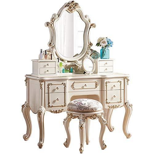 JOMSK Schlafzimmer Schminktische Schlafzimmer European Style Frisierkommode Prinzessin Einfaches europäisches Massivholz, kleines Netz Rot Klein (Color : White, Size