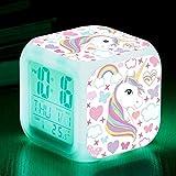 fdgdfgd Las niñas de Dibujos Animados aman los números de ñus 3D con termómetro, Reloj Despertador con Fecha, Reloj Despertador Luminoso LED como Regalos para niños