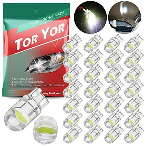 194 LED Light Bulb White 6000K Pack of 30, 168 2825 W5W T10 Wedge COB LED Replacement Bulbs Error...