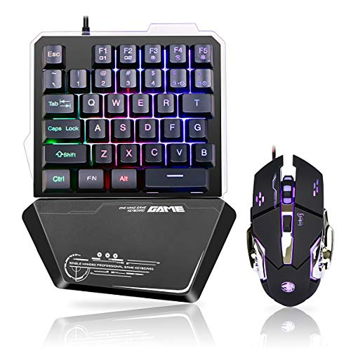 RGB One Handed Gaming Keyboard and Mouse Combo,USB Wired Mechanical Feeling Keypad with Wrist Rest Support, Gaming Mouse for Laptop PC Computer Game Office