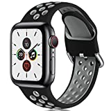 CeMiKa Correa Compatible con Apple Watch Correa 38mm 40mm 42mm 44mm, Suave Silicona Deporte Correa con Compatible con Apple Watch SE/iWatch Series 6 5 4 3 2 1, 42mm/44mm-M/L, Negro/Gris