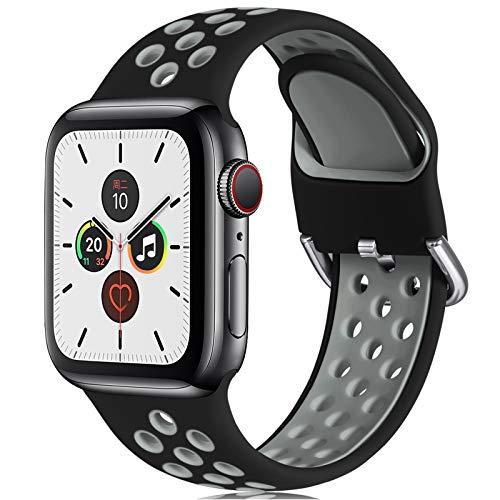 CeMiKa Correa Compatible con Apple Watch Correa 38mm 40mm 42mm 44mm, Suave Silicona Deporte Correa con Compatible con Apple Watch SE/iWatch Series 6 5 4 3 2 1, 42mm/44mm-S/M, Negro/Gris