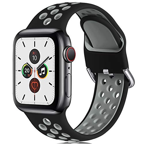CeMiKa Correa Compatible con Apple Watch Correa 38mm 40mm 42mm 44mm, Suave Silicona Deporte Correa con Compatible con Apple Watch SE/iWatch Series 6 5 4 3 2 1, 42mm/44mm-S/M, Negro/Gris