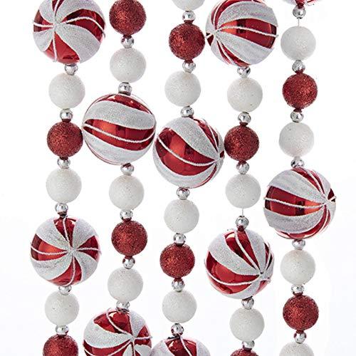 Kurt Adler Red White 6' Glitter Starburst Candy Ball Christmas Garland