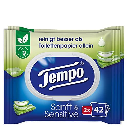 Tempo Toilettenpapier feucht Sanft und Sensitiv Duo-Pack, 84 Tücher