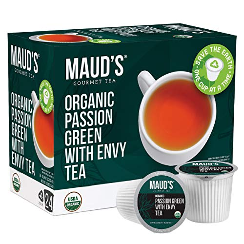 Maud's Organic Green Tea Passion (Passion Green With Envy Tea), 24ct. Recyclable Single Serve Organic Green Tea Pods – 100% Organic Passion Green Tea California Blended, Keurig Green Tea K Cup Compatible