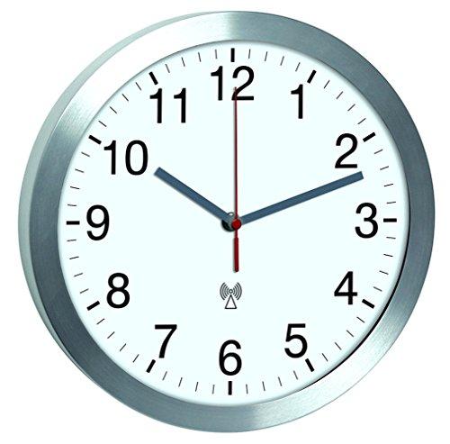 TFA Dostmann Aluminium Funk-Wanduhr mit leisem Sweep-Uhrwerk TFA 60.3533.02 Funkwanduhren 300 mm