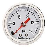 Solimeta 1.5' Dial Size, Oil Filled, Fuel Pressure Gauge 1/8 NPT, Inline Fuel Pressure Gauge, Automotive Replacement Fuel Pressure Gauge, 304 Stainless Steel Case, 0-15Psi, +/-3-2-3%