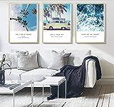 Diy diamante pintura nórdico océano palmera decoración pintura mural imagen sala de estar decoración del hogar pintura sin marco