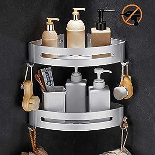 YUEKUN Estantes Ducha, Bogeer Estanteria ducha esquina pared para baño sin Taladro, Pegamento Patentado, Aluminio Estante de baño