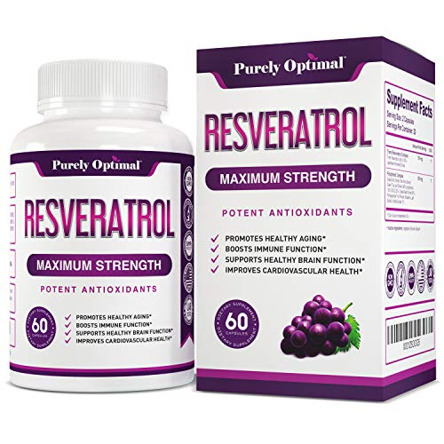 Premium Resveratrol Supplement 1500mg - Max Strength Potent Antioxidant, Trans Resveratrol Capsules for Heart Health, Anti-Aging, Immune Health - with Grape Seed & Green Tea Extract - 30 Days Supply