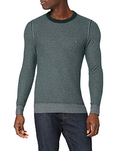 Tommy Hilfiger Two Tone Structure Sweater Suéter, Hunter, M para Hombre