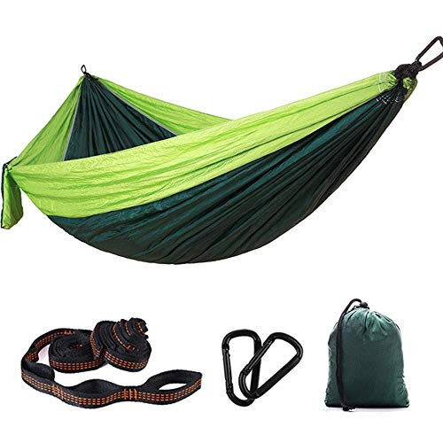 AJH Hamac Simple Double Portable Léger, Hamac Parachute 270 * 145cm avec Mousquetons, Hamacs De Camping pour Jardin Extérieur Intérieur Randonnée Voyager