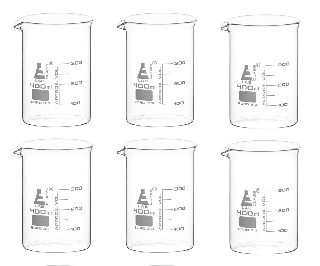 6PK Beakers 400ml Purchase - Griffin Style White Low Form with outlet Spout