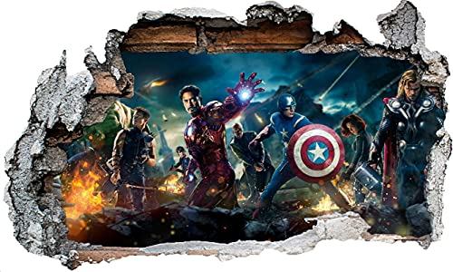 DT Poster Marvel Avengers Wandtattoo Superhelden Wandaufkleber Spiderman 3d Wand Loch Vinyl Poster Schlafzimmer Junge Mädchen Groß
