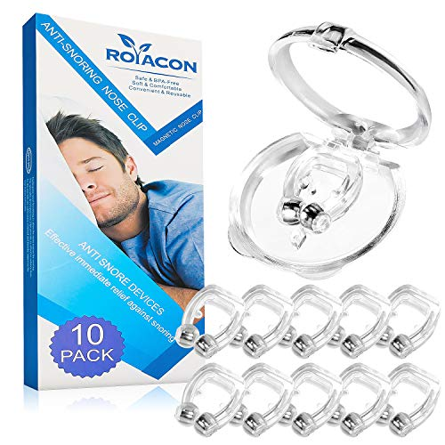 Snoring Solution, Royacon Upgraded Magnetic Snore Stopper, Professional Anti Snoring Devices Anti Snore Nose Clip, Silicone Sleeping Aid Relieve Snore for Peaceful Night, 10 Pack