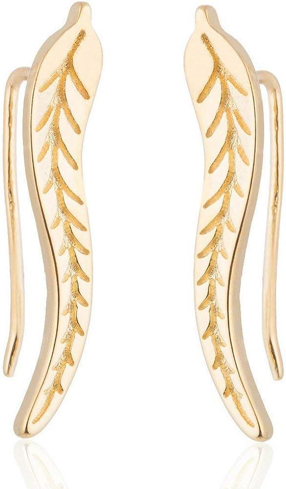 Crawler Earrings for Women: Quality inspection Leaf Super-cheap Climber Earring Feathe Cuff Ear