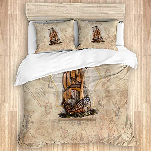 SUHOM Bettwäsche-Set,Schiff auf Piri Reis Karte,Mikrofaser Bettbezüge Set mit Reißverschluss,und Kopfkissenbezüge,220x240