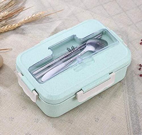 Heng Wheat Student verwarmde lunchbox Picknick voedselcontainer verzegeld met lepels Eetstokjes 3 gesplitste lagen voedsel lunchbox, groen