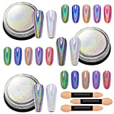 Artdone 3jars holographic nail powder chrome 1gram each,unicorn holo rainbow mirror effect 20um 35um 65um nail pigment kit for nail gel polish dipping nail art crome set